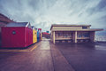 Beach huts in sheringham norfolk colorful Royalty Free Stock Photos