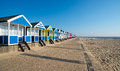 Beach huts at southwold under a blue sky on the suffolk coast Stock Photography