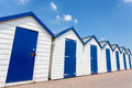 Beach huts white and blue Royalty Free Stock Photo