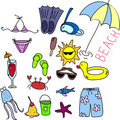 Beach icon set, children drawing, vector Stock Images