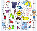 Beach icon set, children drawing, vector Royalty Free Stock Photo