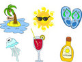 Beach icon set,vector Royalty Free Stock Images