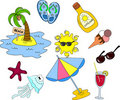 Beach icon set, vector Royalty Free Stock Image