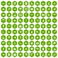 100 beach icons hexagon green