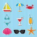 Beach icons on light blue lines background Stock Image