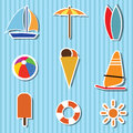 Beach icons on light blue special background Stock Images