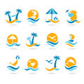 Beach icons set of eps Royalty Free Stock Photo