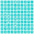 100 beach icons set grunge blue Royalty Free Stock Photo