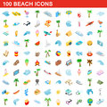 100 beach icons set, isometric 3d style