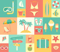 Beach icons set vector illustration Royalty Free Stock Images