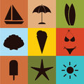 Beach icons on square with different color Royalty Free Stock Photography
