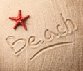 Beach inscription summer with and starfish Royalty Free Stock Photos