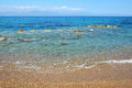 The beach on ionian sea at luxury hotel peloponnes greece Royalty Free Stock Photography