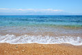 The beach on ionian sea at luxury hotel peloponnes greece Stock Photo