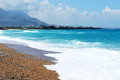 The beach on ionian sea at luxury hotel peloponnes greece Stock Photography