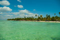 Beach of the island bounty view from boat Stock Photography