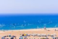 Beach on the isthmus Prasonisi. Rhodes Island. Greece Royalty Free Stock Photo