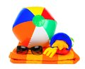 Beach items over white colorful on a towel a background Stock Photography