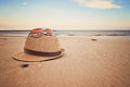 Beach items on smooth sand Royalty Free Stock Photos
