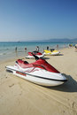 Beach with jet-ski Royalty Free Stock Photos