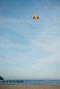 Beach kite flying on empty Royalty Free Stock Images