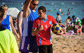 Beach korfball tournament photography from didim international took place in didim turkey during august september with Stock Image