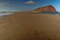 Beach of la tejita with roja mountain red mountain in the background el medano tenerife canary islands Stock Images