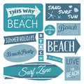 Beach labels collection a set of vintage design elements in blue isolated on white background Stock Photography