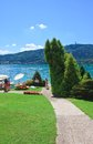 Beach on lake worth worthersee austria view of Stock Images