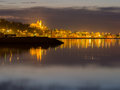 Beach at laugharbakki in iceland night scene with reflections Stock Photography