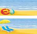 Beach leisure banner summer holiday illustration Stock Images