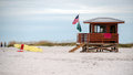 Beach lifeguard tower and board at a in south florida Royalty Free Stock Photos