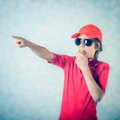 Beach lifeguard warn boy with whistle Stock Photos