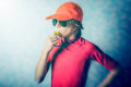 Beach lifeguard warn boy with whistle Royalty Free Stock Photo