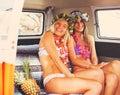 Beach Lifestyle Surfer Girls in Vintage Surf Van Royalty Free Stock Photo
