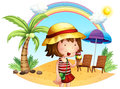 A beach with a little girl illustration of on white background Royalty Free Stock Photo