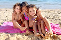 Beach little girls on the Royalty Free Stock Photo