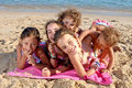 Beach little girls on the Stock Image