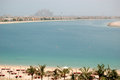 The beach at luxury hotel on Palm Jumeirah Stock Photo