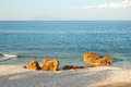 Beach at the luxury hotel during sunset thassos island greece Stock Photography
