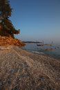 Beach at the luxury hotel during sunset thassos island greece Royalty Free Stock Images