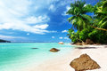 Beach on mahe island seychelles Royalty Free Stock Image