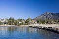 Beach in marbella on costa del sol in spain sandy summer holiday scenery by the mediterranean sea andalusia region malaga province Royalty Free Stock Photos