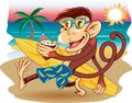 Beach monkey a with a surfboard strolling the Stock Photography