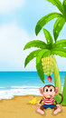 A beach with a monkey under the banana illustration of Stock Photos