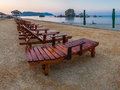 Beach in the morning on shore of black sea Stock Photos