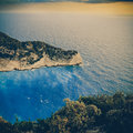 Beach navagio in zakynthos vintage coaster greece Stock Photos