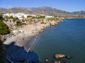 The beach in Nerja on the Eastern End of the Costa del Sol in Spain Royalty Free Stock Photo