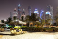 Beach night illumination of the luxury hotel dubai uae Royalty Free Stock Photos