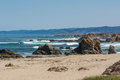 The beach and the ocean in fort bragg california a view of a Royalty Free Stock Images
